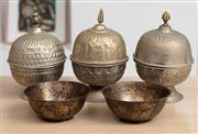 Sale 9023H - Lot 18 - A group of Indian metal wares including three metal candle holders and Chinese oriental bronze bowls, Height of candles 16cm