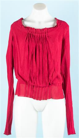 Sale 9091F - Lot 8 - AN ALBERTA FERRETTI CHERRY RED BOAT NECK BLOUSE; having a pleated front panel, concealed bra strap attachments and elasticized waist...