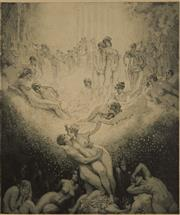Sale 9078A - Lot 5024 - Norman Lindsay (1879 - 1969) - Love On Earth 35.5 x 29.5 cm (sheet: 50 x 42 cm)