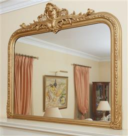 Sale 9097H - Lot 67 - A C19th continental gilt overmantle mirror with scrolling acanthus over shell motif, Height 140cm x Width 158cm