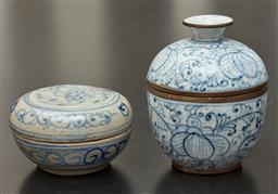 Sale 9108H - Lot 11 - Two Indonesian lidded circular blue and white pots, Larger Diameter 8cm