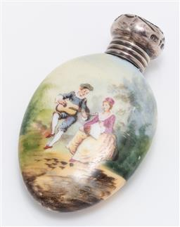 Sale 9180E - Lot 39 - A handpainted ceramic snuff case with sterling silver lid, Length 6cm