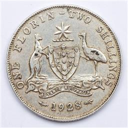 Sale 9156 - Lot 231 - An Australian 1928 silver florin with six pearls and full centre diamond
