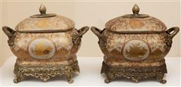 Sale 9190W - Lot 45 - A pair of twin handled painted lidded caskets.