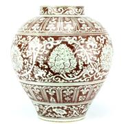 Sale 8244 - Lot 19 - Early Ming Style Iron Red Lotus Jar