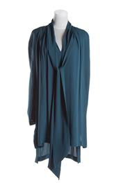 Sale 8493A - Lot 83 - A Willow 100% teal silk long sleeve dress, with draping neck tie, size 8