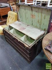Sale 8550 - Lot 1466 - Large Timber Bound Travelling Trunk with Two Fitted Trays
