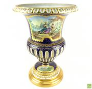 Sale 8589R - Lot 45 - Sevres Style French Porcelain Vase with Picturesque Scenes (H: 44cm)
