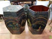 Sale 8593 - Lot 1022 - Pair Chinese Hexagonal Painted Black Cannisters (one cover missing) -