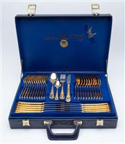 Sale 8414A - Lot 35 - A Solingen gold plated cutlery set in blue velvet lined briefcase, for twelve