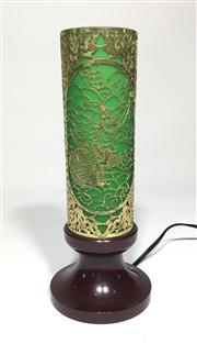 Sale 8772A - Lot 80 - A Vintage Filigree Shadow Lamp Metal And Glass Shade With Bakelite Base General Wear , Size 27 cm H x 11cm D At Base