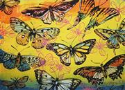 Sale 8838A - Lot 5089 - David Bromley (1960 - ) 	 - Butterflies Yellow 55 x 74cm