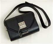 Sale 9081H - Lot 76 - A Jazmin Chebar envelope bag  in black patent and matte leather with chain detail and silver hardware (purchased in Argentina)