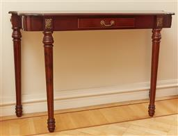 Sale 9098H - Lot 6 - A mahogany shaped top single drawer console with tapering fluted legs, Height 79cm x Width 120cm x Depth 37cm