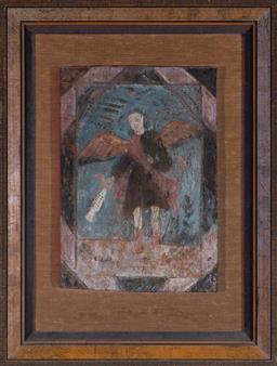 Sale 9135H - Lot 149 - A 18th Century Spanish/Colonial painting of the Archangel Raphael holding a fish. 62cm Height, 47cm Width