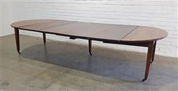 Sale 9162 - Lot 1012 - 19th Century French mahogany extension dining table, with four leaves, on square tapering legs with brass castors  (h:73 x w:153 x :...
