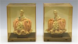Sale 9164 - Lot 484 - Pair of Dresden lady figures inc display boxes (H:12cm)