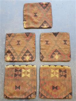 Sale 9174 - Lot 1092 - Collection of 5 Hand knotted pure wool kilim cushion covers (40 x 40cm)