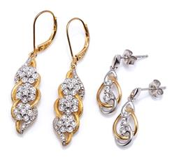 Sale 9194 - Lot 561 - TWO PAIRS OF SILVER GILT STONE SET EARRINGS. pair in two tone silver with round cut Swarovski crystals to stud fittings, size 20 x 8...