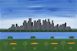 Sale 9256A - Lot 5179 - DOUG FRITH (1960 - ) Cityscape, 2020 acrylic on canvas 50.5 x 76 cm signed and dated lower left, inscribed and titled verso