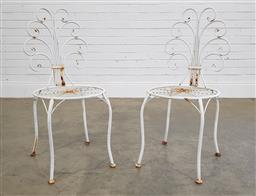 Sale 9188 - Lot 1707 - Pair of metal flower form back outdoor chairs (h90 x d40cm)