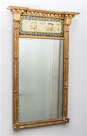 Sale 9195H - Lot 1 - A gilt gesso Trumeau mirror with floral top panel, Height 103cm x Width 65cm,  slight losses to gilding and repairs.