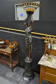 Sale 8134 - Lot 1004 - Lady Figure Standard Lamp With Leadlight Glass Shade