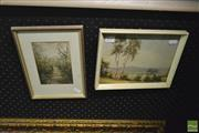 Sale 8214 - Lot 2091 - Australian School (XIX - XX) (2 works) Adelaide Hills, S.A. & Country Homestead, watercolours, various sizes