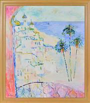 Sale 8344 - Lot 509 - Eva Hannah (1942 - ) - Holiday in Europe, 1988 106 x 90cm