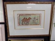 Sale 8429A - Lot 2033 - Chinese School - Man and Camel, ink and watercolour, 19 x 38cm, signed lower left