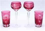 Sale 8414A - Lot 36 - Two ruby glass Bohemian hock glasses together with two similar tumblers