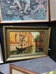 Sale 8645 - Lot 2024 - Artist Unknown - Venice Canal Scene, oil on Board, 31 x 42cm, Signed lower right