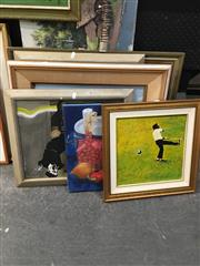 Sale 8674 - Lot 2061 - Collection of Artworks Various Media, Sizes, incl. Golfer, Thai Village, Still Life, Cement Works, etc