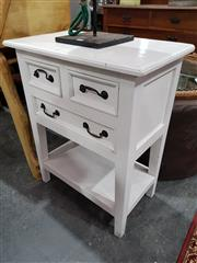 Sale 8740 - Lot 1108 - Small White Painted Tiered Timber Side Table with Three Drawers