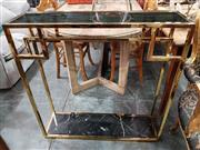 Sale 8904 - Lot 1053 - Gold Plated Stainless Steel Hall Table with Glass Top (H: 92.5 W: 71 D: 25cm)