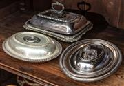 Sale 8942H - Lot 65 - A small quantity of silver-plated warming dishes in oval and rectangular (some handles missing)