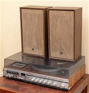 Sale 9055H - Lot 42 - A National Panasonic radio turntable and cassette deck unit, model SG-208GS. Together with a pair of speakers (untested).