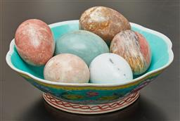 Sale 9108H - Lot 12 - A small group of alabaster eggs in a Chinese bowl Diameter 21cm