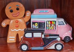 Sale 9103H - Lot 30 - A SuperSoft Ice Cream cookie jar, a ceramic motor car and a gingerbread man. tallest height 24.5cm