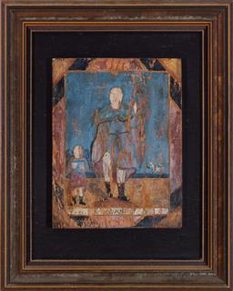 Sale 9135H - Lot 150 - A 18th Century Spanish/Colonial painting of Saint Roque. 63cm Height, 51cm Width.