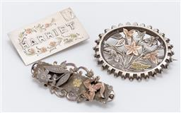 Sale 9180E - Lot 81 - A group of three sterling siver pin brooches with rose gold inclusions, one for Harriet, Weight 16g, largest Length 5cm