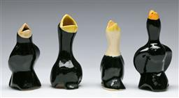 Sale 9148 - Lot 7 - Collection of four bird themed ceramic pie funnels (H:11cm)
