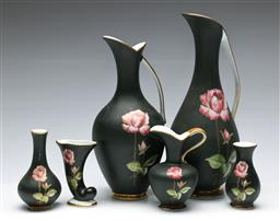 Sale 9164 - Lot 306 - A suite of Royal Bavarian hand painted jugs inc small vases (H:27cm to 9cm)