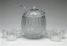 Sale 9209 - Lot 44 - An ornately cut glass punch suite including lidded punch bowl (H:27cm), ladle and six glasses