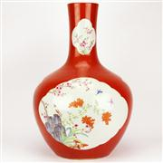 Sale 8244 - Lot 14 - Chien Lung Marked Red Ground Tian Qiu Vase