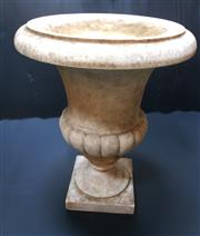 Sale 8256A - Lot 50 - An antique French / Italian carved marble garden urn. Old repair to stem.  Size: 46 x 36 cm