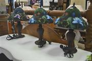 Sale 8272 - Lot 1061 - Set of Three Art Glass Shade Table Lamps & Pair of Pleated Fabric Examples (5)