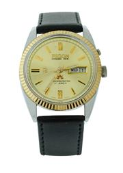 Sale 8406A - Lot 59 - Mens Ricoh Dynamic wristwatch, stainless steel case with gold plated bezel, circa 1980, 36 mm, with day date window, in running ord...