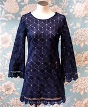 Sale 8474A - Lot 33 - A retro style Mika & Gala crotchet style cotton shift dress, in blue, excellent condition, size 6