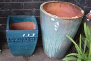Sale 8550 - Lot 1374 - Two Varied Glazed Terracotta Planters